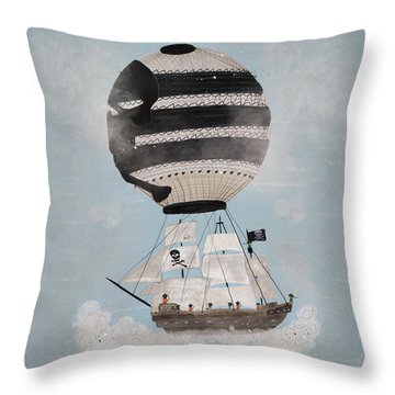 Throw Pillow featuring the painting Sky Pirates by Bri B