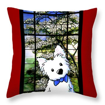 Westie At Dogwood Window Throw Pillow