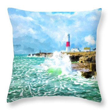Throw Pillow featuring the mixed media Clearing Storm - Portland Bill Lighthouse by Mark Tisdale