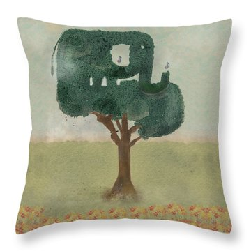 Throw Pillow featuring the painting The Elephant Tree by Bri B