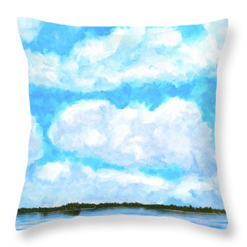 Throw Pillow featuring the mixed media Lakeside Blue - Georgia Abstract Landscape by Mark Tisdale