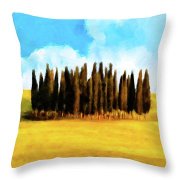 Throw Pillow featuring the mixed media Golden Tuscan Landscape Artwork by Mark Tisdale