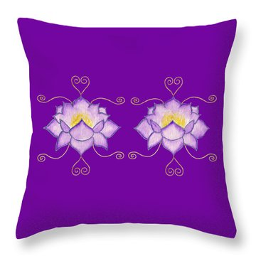 Throw Pillow featuring the mixed media Purple Lotus by Elizabeth Lock