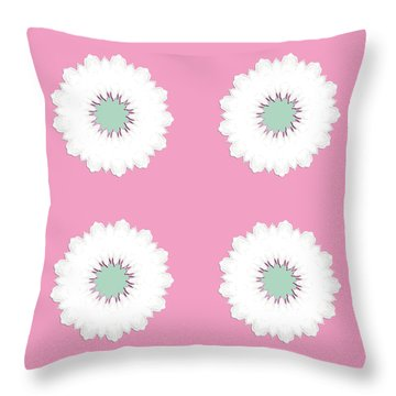 Throw Pillow featuring the digital art White Flowers by Elizabeth Lock