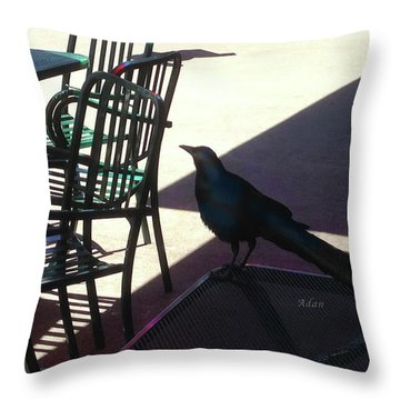 Black Bird At Central Market Throw Pillow by Felipe Adan Lerma