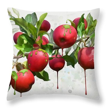 Melting Apples Throw Pillow by Ivana Westin