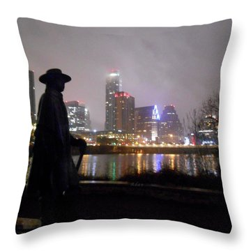 Austin Hike And Bike Trail - Iconic Austin Statue Stevie Ray Vaughn - One Throw Pillow