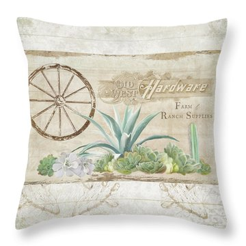 Throw Pillow featuring the painting Western Range 4 Old West Desert Cactus Farm Ranch  Wooden Sign Hardware by Audrey Jeanne Roberts