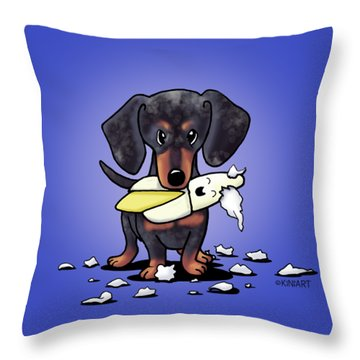 Dapple Doxie Destroyer Throw Pillow by Kim Niles