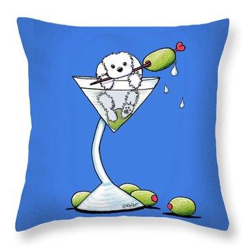 Maltese Martini Throw Pillow by Kim Niles