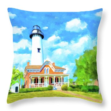 Throw Pillow featuring the painting Fair Weather On St Simons Island - Georgia Lighthouses by Mark Tisdale