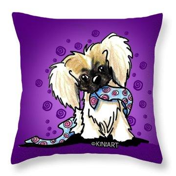 Pekingese Puppy Throw Pillow by Kim Niles