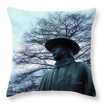 Austin Hike And Bike Trail - Iconic Austin Statue Stevie Ray Vaughn - Two Throw Pillow by Felipe Adan Lerma