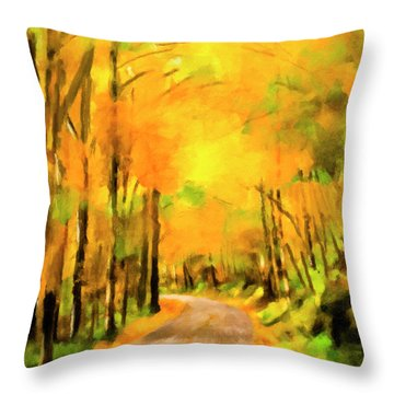 Throw Pillow featuring the painting Golden Miles - Ode To Appalachia by Mark Tisdale