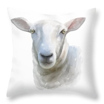 Watercolor Sheep Throw Pillow