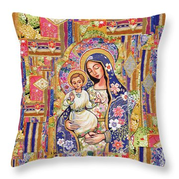 Throw Pillow featuring the painting Panagia Eleousa by Eva Campbell