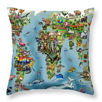 Throw Pillow featuring the digital art Animals World Map by Kevin Middleton