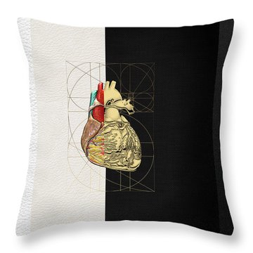 Throw Pillow featuring the digital art Dualities - Half-gold Human Heart On Black And White Canvas by Serge Averbukh