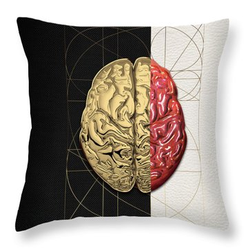 Throw Pillow featuring the digital art Dualities - Half-gold Human Brain On Black And White Canvas by Serge Averbukh