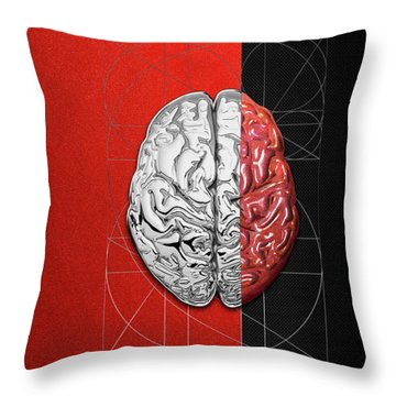 Throw Pillow featuring the digital art Dualities - Half-silver Human Brain On Red And Black Canvas by Serge Averbukh