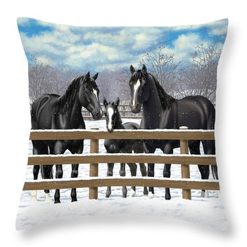 Black Quarter Horses In Snow Throw Pillow