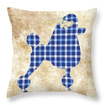 French Poodle Plaid Throw Pillow by Christina Rollo