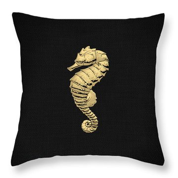Throw Pillow featuring the digital art Gold Seahorse On Black Canvas by Serge Averbukh