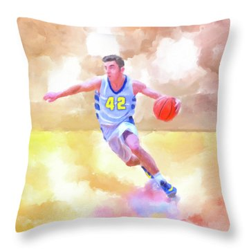 Throw Pillow featuring the painting The Art Of Basketball by Mark Tisdale