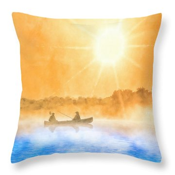 Throw Pillow featuring the painting Quiet Moments - Fishing At Dawn by Mark Tisdale
