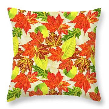 Fall Leaves Pattern Throw Pillow by Christina Rollo