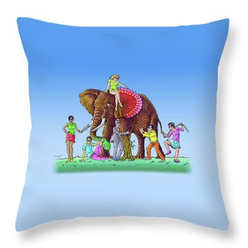 The Blind And The Elephant Throw Pillow