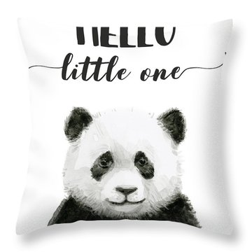 Baby Panda Hello Little One Nursery Decor Throw Pillow