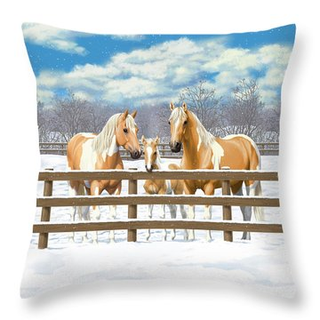 Palomino Paint Horses In Snow Throw Pillow