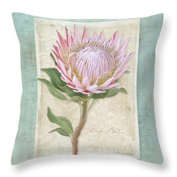 Throw Pillow featuring the painting King Protea Blossom - Vintage Style Botanical Floral 1 by Audrey Jeanne Roberts