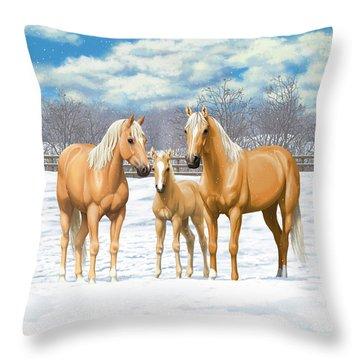 Palomino Horses In Winter Pasture Throw Pillow