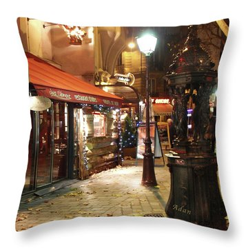 Place St Michel To Rue Saint-andre Des Arts Throw Pillow by Felipe Adan Lerma