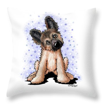 Curious Shepherd Puppy Throw Pillow