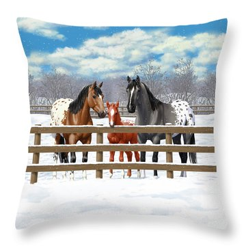 Appaloosa Horses In Winter Ranch Corral Throw Pillow