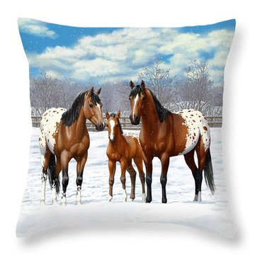 Bay Appaloosa Horses In Winter Pasture Throw Pillow