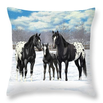 Black Appaloosa Horses In Winter Pasture Throw Pillow