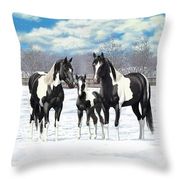 Black Paint Horses In Winter Pasture Throw Pillow