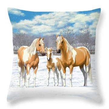 Palomino Paint Horses In Winter Pasture Throw Pillow