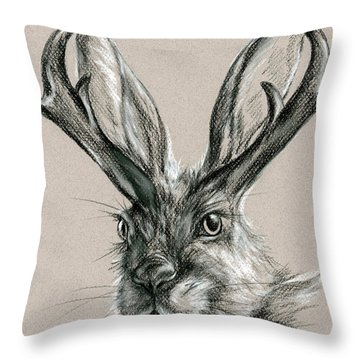 The Mythical Jackalope Throw Pillow