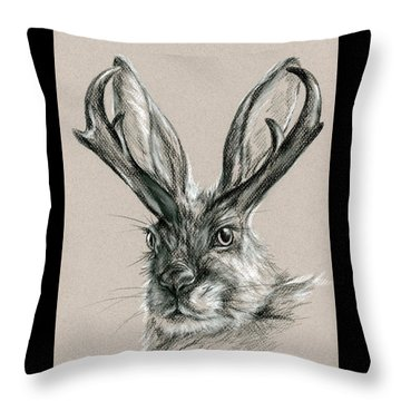 The Mythical Jackalope Throw Pillow by MM Anderson