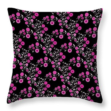 Throw Pillow featuring the digital art Pink Floral Explosion by Methune Hively