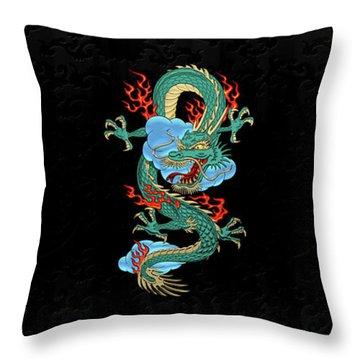 The Great Dragon Spirits - Turquoise Dragon On Black Silk Throw Pillow by Serge Averbukh
