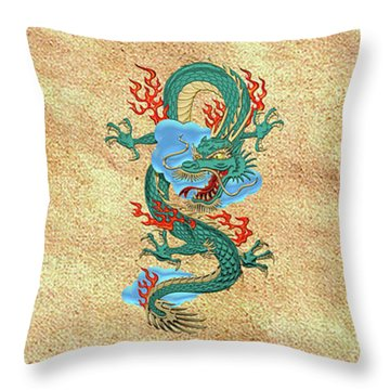 The Great Dragon Spirits - Turquoise Dragon On Rice Paper Throw Pillow by Serge Averbukh