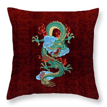 The Great Dragon Spirits - Turquoise Dragon On Red Silk Throw Pillow by Serge Averbukh