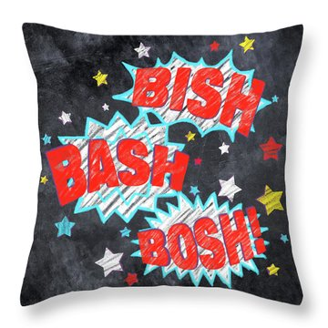Throw Pillow featuring the drawing Bish Bash Bosh - Fun Chalkboard Art by Mark Tisdale