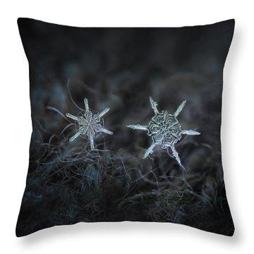 Snowflake Photo - When Winters Meets Throw Pillow by Alexey Kljatov